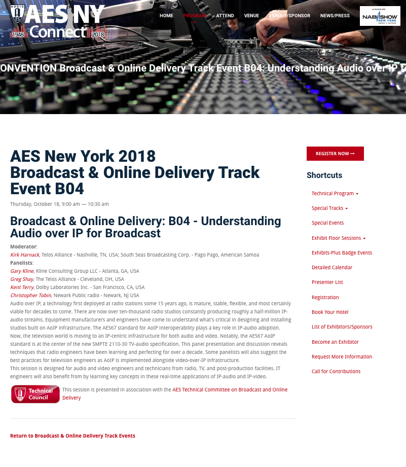 AES New York 2018 Broadcast & Online Delivery Track Event B04